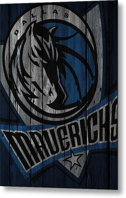 Dallas Mavericks Wood Fence Metal Print by Joe Hamilton