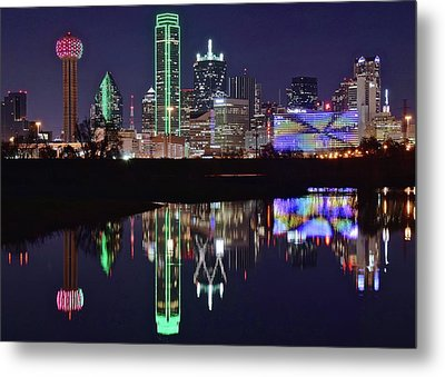 Dallas Reflecting At Night Metal Print by Frozen in Time Fine Art Photography