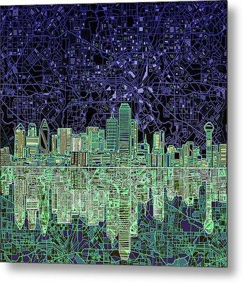 Dallas Skyline Abstract 4 Metal Print by Bekim Art