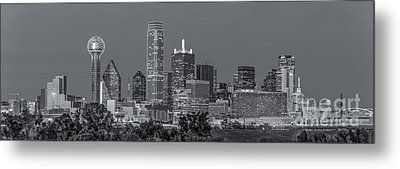 Dallas Skyline Black And White Metal Print by Tod and Cynthia Grubbs
