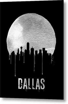 Dallas Skyline Black Metal Print by Naxart Studio