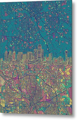 Dallas Skyline Map Green Metal Print by Bekim Art