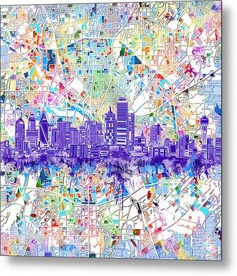 Dallas Skyline Map White 3 Metal Print by Bekim Art
