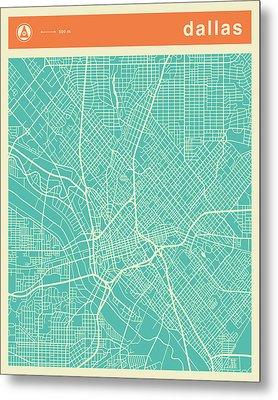 Dallas Street Map Metal Print by Jazzberry Blue