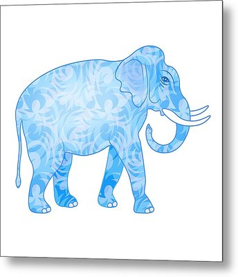 Damask Pattern Elephant Metal Print by Antique Images