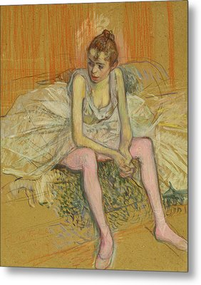 Dancer With Pink Stockings Metal Print by Henri de Toulouse-Lautrec