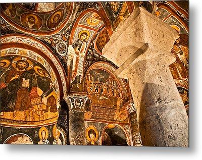 Dark Cave Church Byzantine Frescoes Metal Print by Denise Lett
