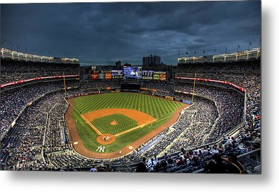 Dark Clouds Over Yankee Stadium  Metal Print by Shawn Everhart