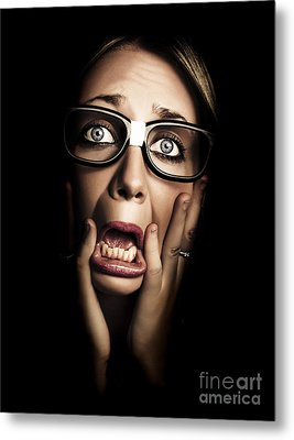 Dark Face Of Business Woman Under Stress And Fear Metal Print by Jorgo Photography - Wall Art Gallery