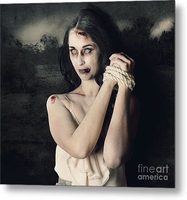 Dark Horror Scene Of An Evil Zombie Woman Tied Up Metal Print by Jorgo Photography - Wall Art Gallery