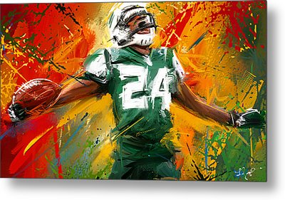 Darrelle Revis Colorful Portrait Metal Print by Lourry Legarde