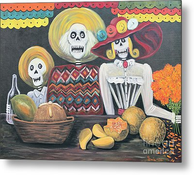Day Of The Dead Family Metal Print by Sonia Flores Ruiz