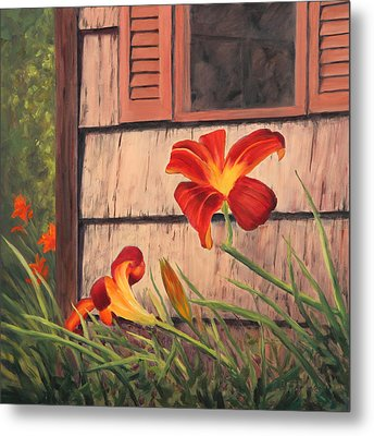 Daylilies At The Shed Metal Print by Elaine Farmer