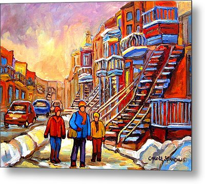 Debullion Street Winter Walk Metal Print by Carole Spandau