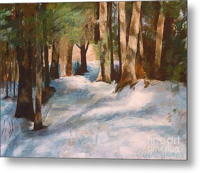 December Snow Path Metal Print by Claire Gagnon