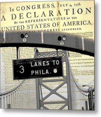 Declaration Of Independence Ben Franklin Bridge Metal Print by Brandi Fitzgerald