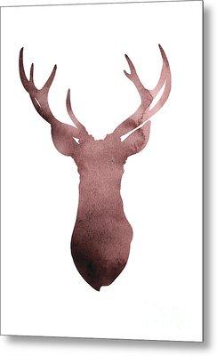 Deer Antlers Silhouette Minimalist Painting Metal Print by Joanna Szmerdt
