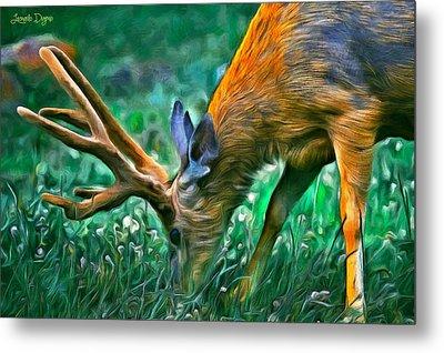Deer At Lunch - Da Metal Print by Leonardo Digenio