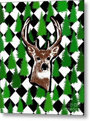 Deer Head Design Metal Print by Priscilla Wolfe