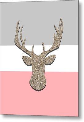 Deer Head Silhouette Metal Print by Pati Photography