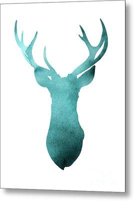 Deer Head Watercolor Giclee Print Metal Print by Joanna Szmerdt