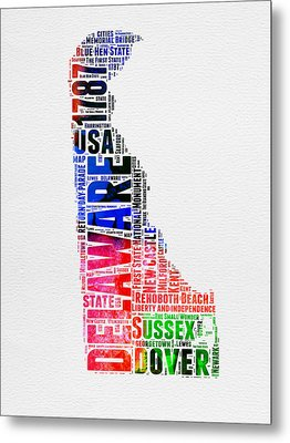 Delaware Watercolor Word Cloud  Metal Print by Naxart Studio