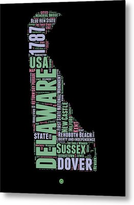 Delaware Word Cloud 1 Metal Print by Naxart Studio