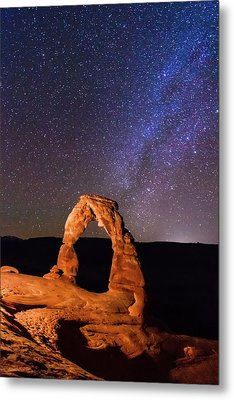 Delicate Arch And Milky Way Metal Print by Matthew Crowley Photography