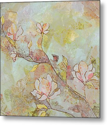 Delicate Magnolias Metal Print by Shadia Zayed