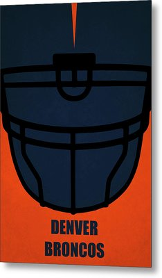 Denver Broncos Helmet Art Metal Print by Joe Hamilton