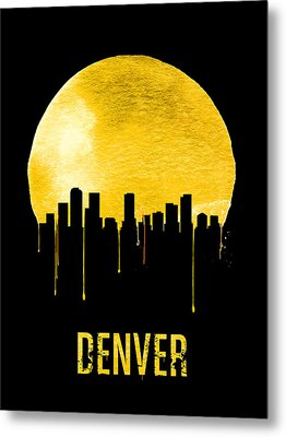 Denver Skyline Yellow Metal Print by Naxart Studio