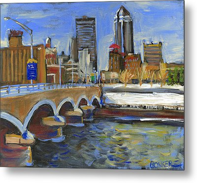 Des Moines Skyline Metal Print by Buffalo Bonker