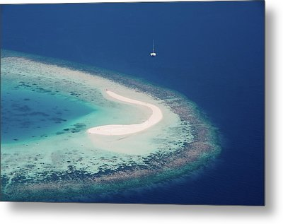 Deserted Coral Island And Yacht Metal Print by Jenny Rainbow
