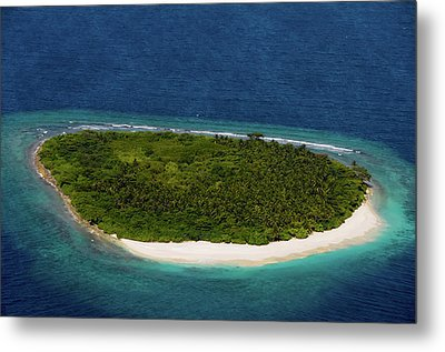 Deserted Island In Blue Ocean. Maldives  Metal Print by Jenny Rainbow