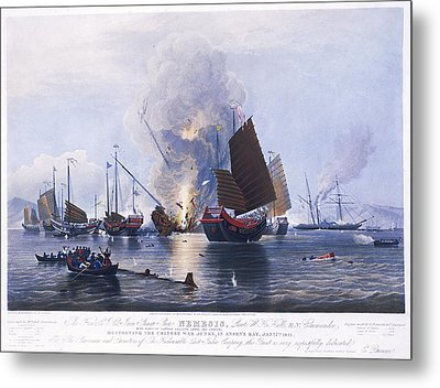 Destroying Chinese War Junks Metal Print by MotionAge Designs