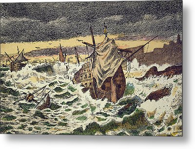 Destruction By Storms Of The Invincible Spanish Armada Metal Print by Spanish School