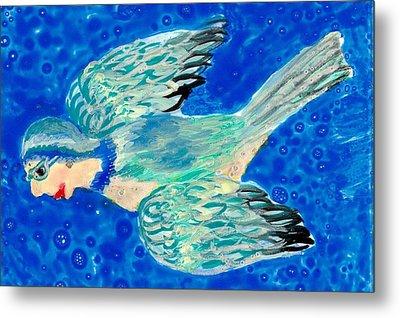 Detail Of Bird People Flying Bluetit Or Chickadee Metal Print by Sushila Burgess