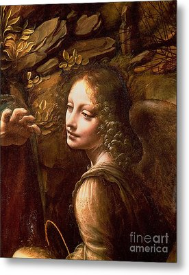 Detail Of The Angel From The Virgin Of The Rocks  Metal Print by Leonardo Da Vinci