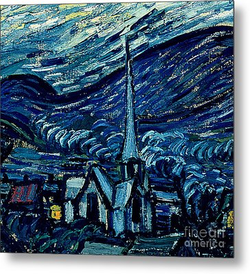 Detail Of The Starry Night Metal Print by Vincent Van Gogh