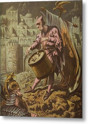 Diaboluss Drummer Before The Walls Of Metal Print by Vintage Design Pics