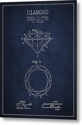 Diamond Patent From 1906 - Navy Blue Metal Print by Aged Pixel
