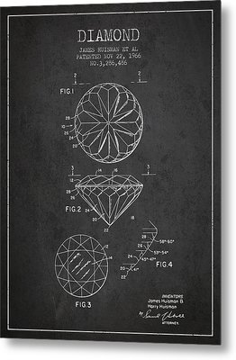 Diamond Patent From 1966- Charcoal Metal Print by Aged Pixel