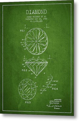Diamond Patent From 1966- Green Metal Print by Aged Pixel