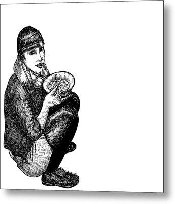 Diana Eating Metal Print by Karl Addison