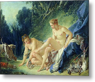 Diana Getting Out Of Her Bath Metal Print by Francois Boucher