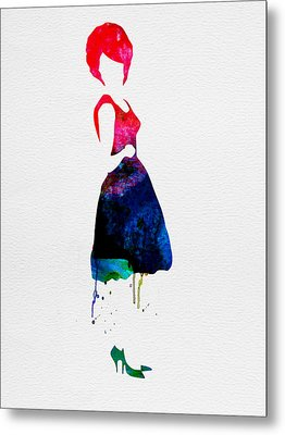 Diana Watercolor Metal Print by Naxart Studio