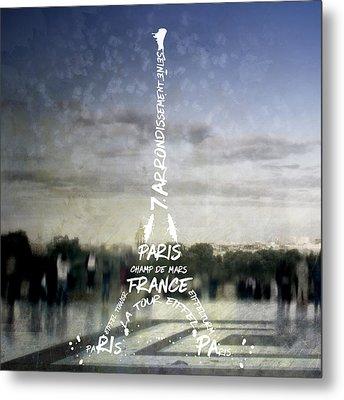 Digital-art Paris Eiffel Tower No.4 Metal Print by Melanie Viola