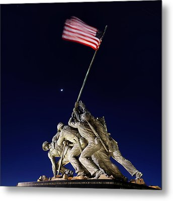Digital Liquid - Iwo Jima Memorial At Dusk Metal Print by Metro DC Photography