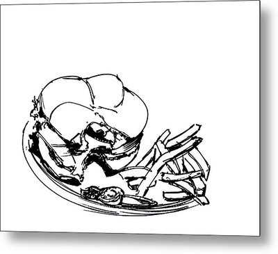 Diner Drawing Charbroiled Chicken 2 Metal Print by Chad Glass