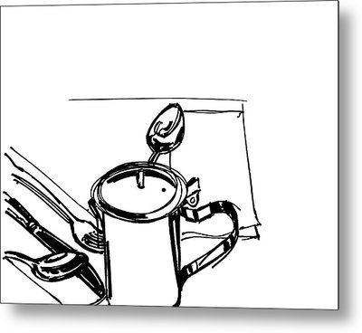 Diner Drawing Creamer 2 Metal Print by Chad Glass